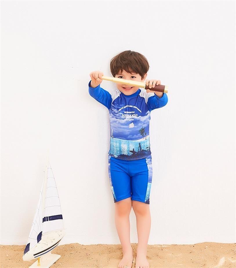 aadc8ac07f 2018 Children Swimwear boy's Bathing Suits Cartoon Surfing Swimming Wear  Kids Long Sleeve Beachwear Anti-UV Swim Wear