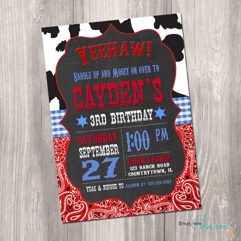 Cowboy Birthday Invitation - Printable Cowboy Birthday Invitation ...