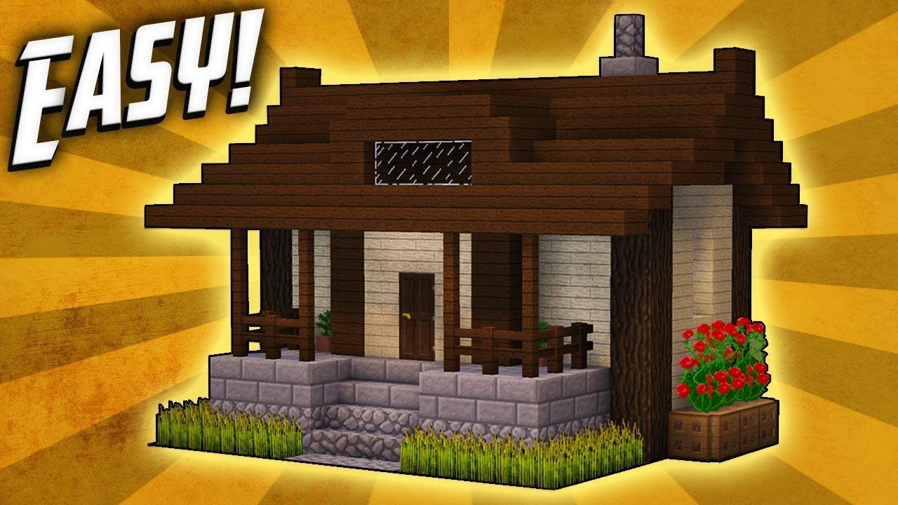 Minecraft How To Build A Small Survival House Tutorial 5 Minecraft Small House Minecraft Small Modern House Minecraft Cottage