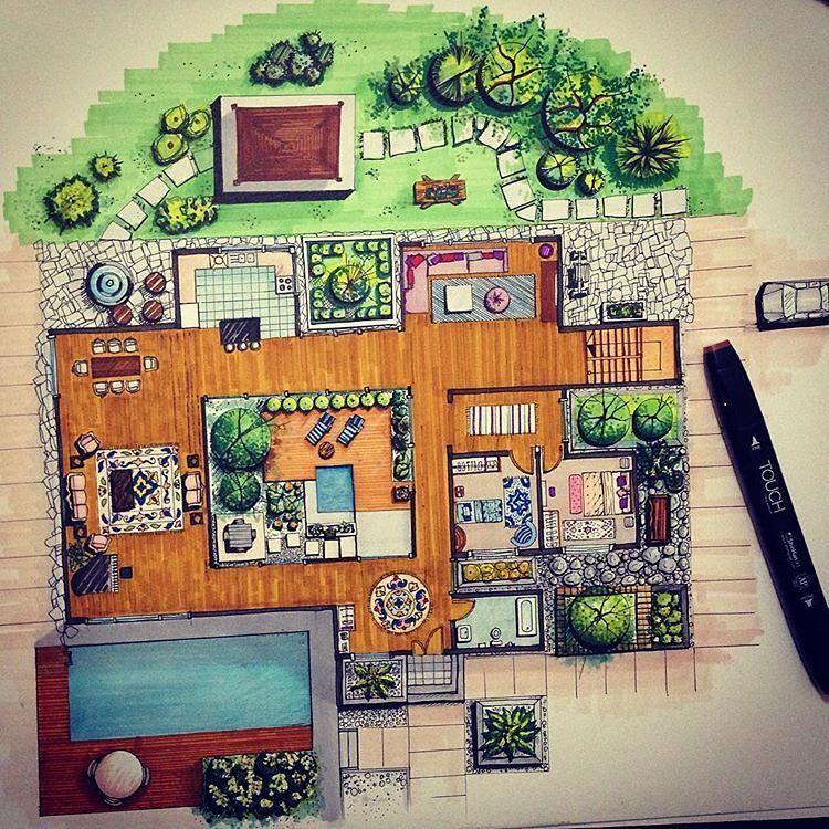 Planta Coloreada Arquitectura Pinterest Colorear