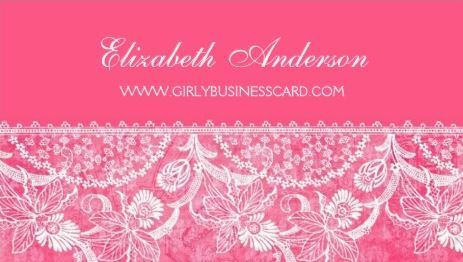 Girly bright pink damask and vintage floral lace border business girly bright pink damask and vintage floral lace border business cards httpwww reheart Gallery
