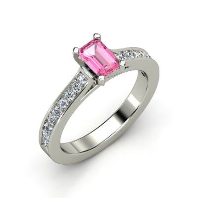 Emerald-Cut Pink Sapphire 14K White Gold Ring with Diamond | Georgette Ring (6mm gem) | Gemvara