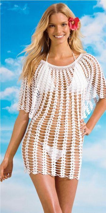 febf909b938b Vestido Branco de Crochet | hekel!!! | Saidas de praia, Crochê de ...