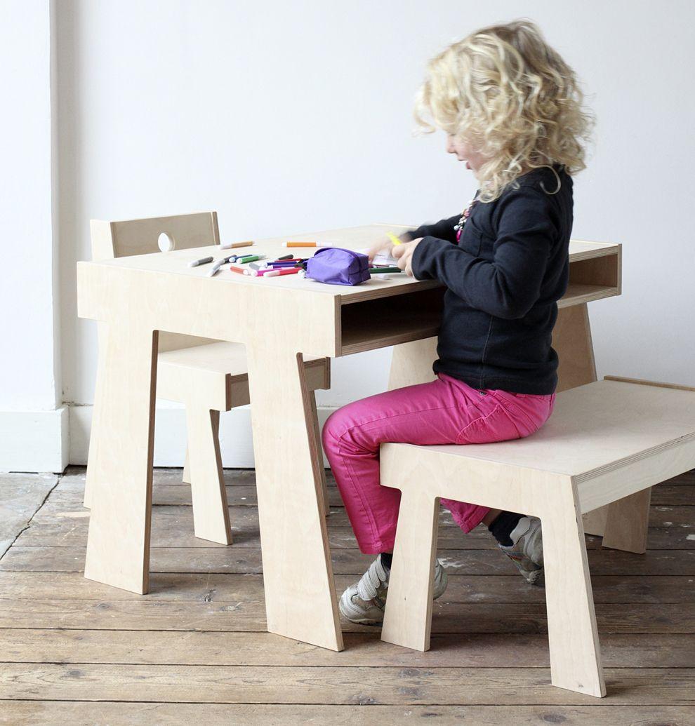 Kindertafel met bergruimte handgemaakte stoere houten meubels voor kinderen - Decoratie volwassenen kamers ...