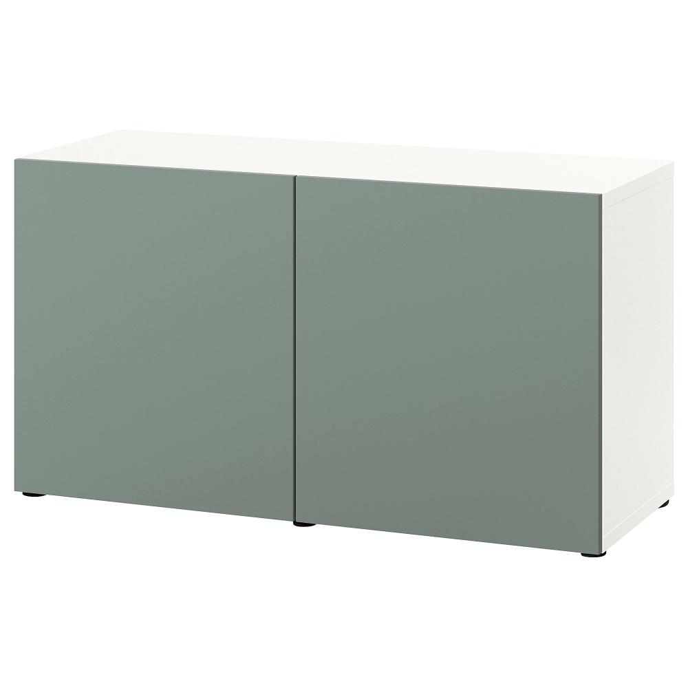 BESTÅ Storage combination with doors, white, Notviken gray-green, D …