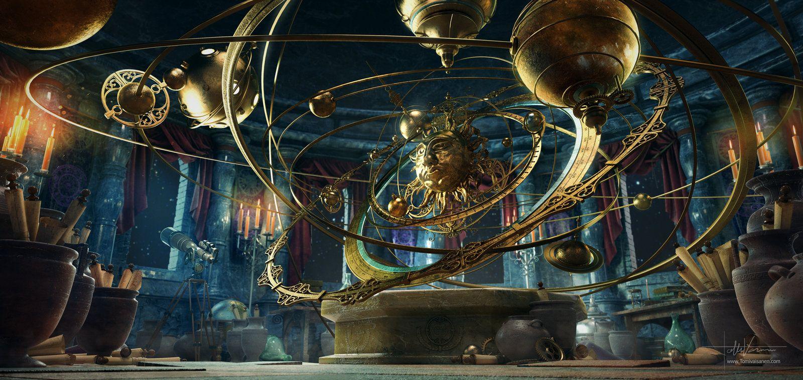 planetarium by darkki1 alchemist wizard sorcerer warlock lab laboratory workshop landscape location environment architecture create your own roleplaying  [ 1600 x 758 Pixel ]