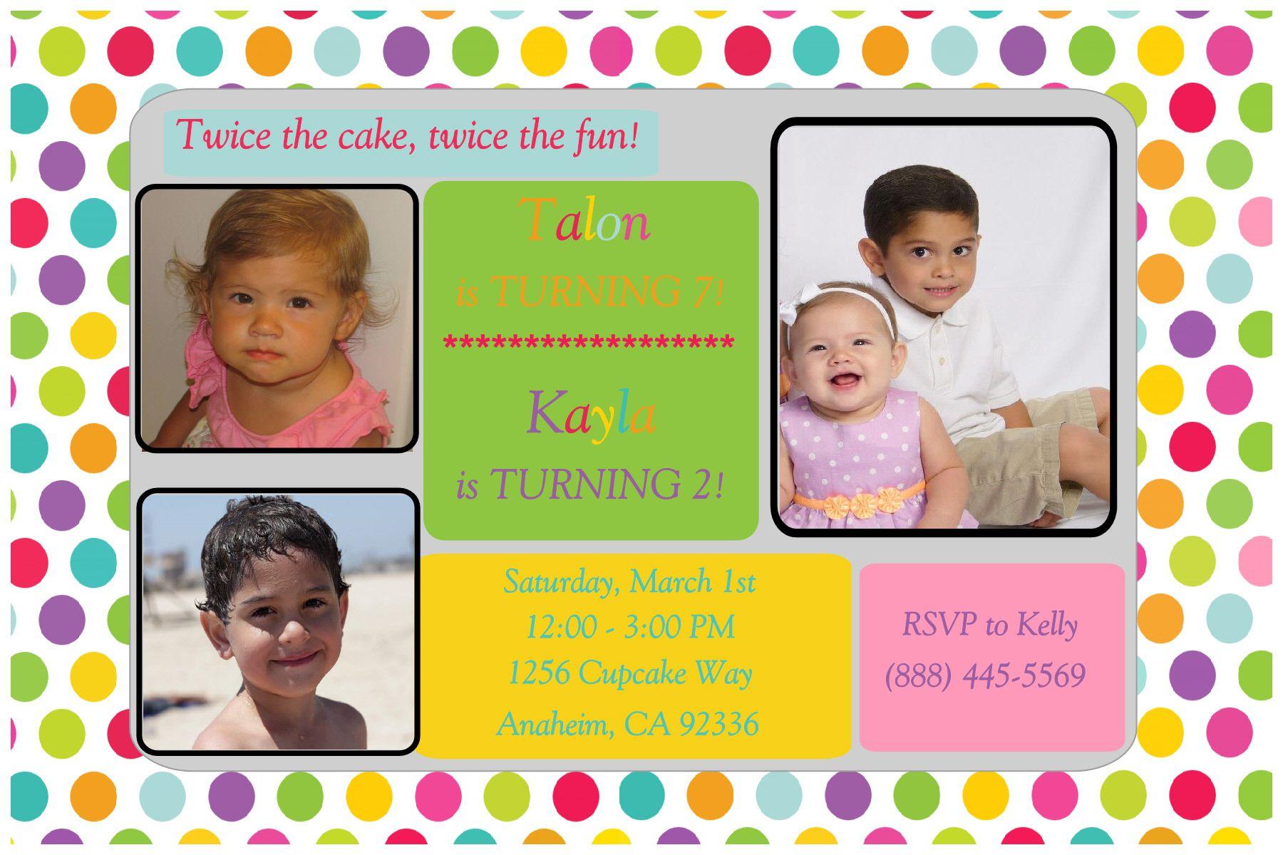Polka Dot Siblings, Twins Birthday Invitation. Click on the image ...