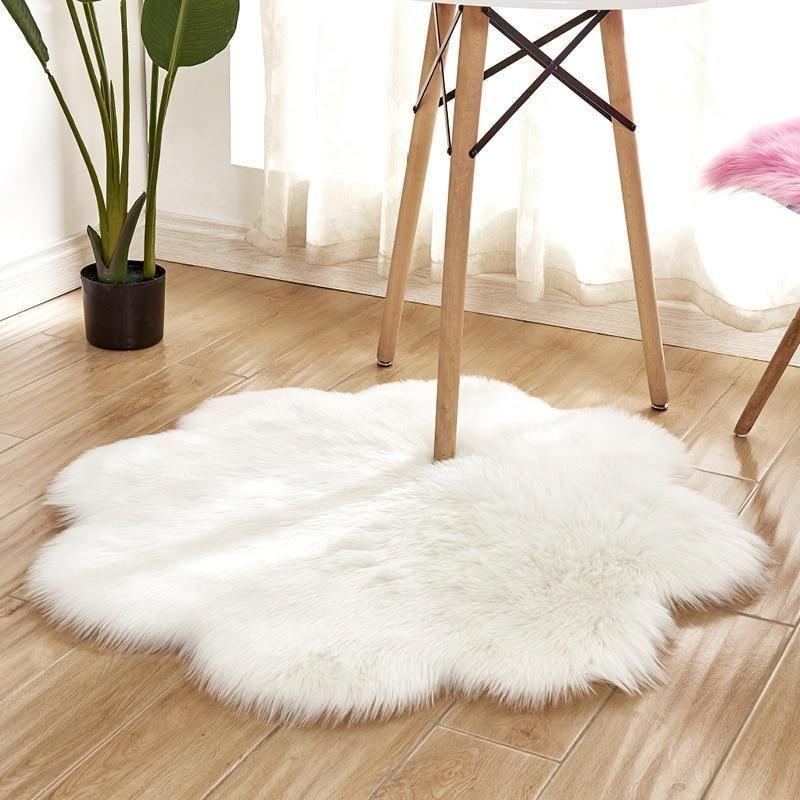 Lora Flower Shape Faux Sheepskin Rug In 2020 Faux Sheepskin Rug Sheepskin Rug Living Room Floor Cushions Living Room #sheepskin #rug #living #room