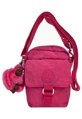 16630ca7d Bolsa Kipling Teddy rosa, confeccionada em material sintético, com tag e  adorno característico da