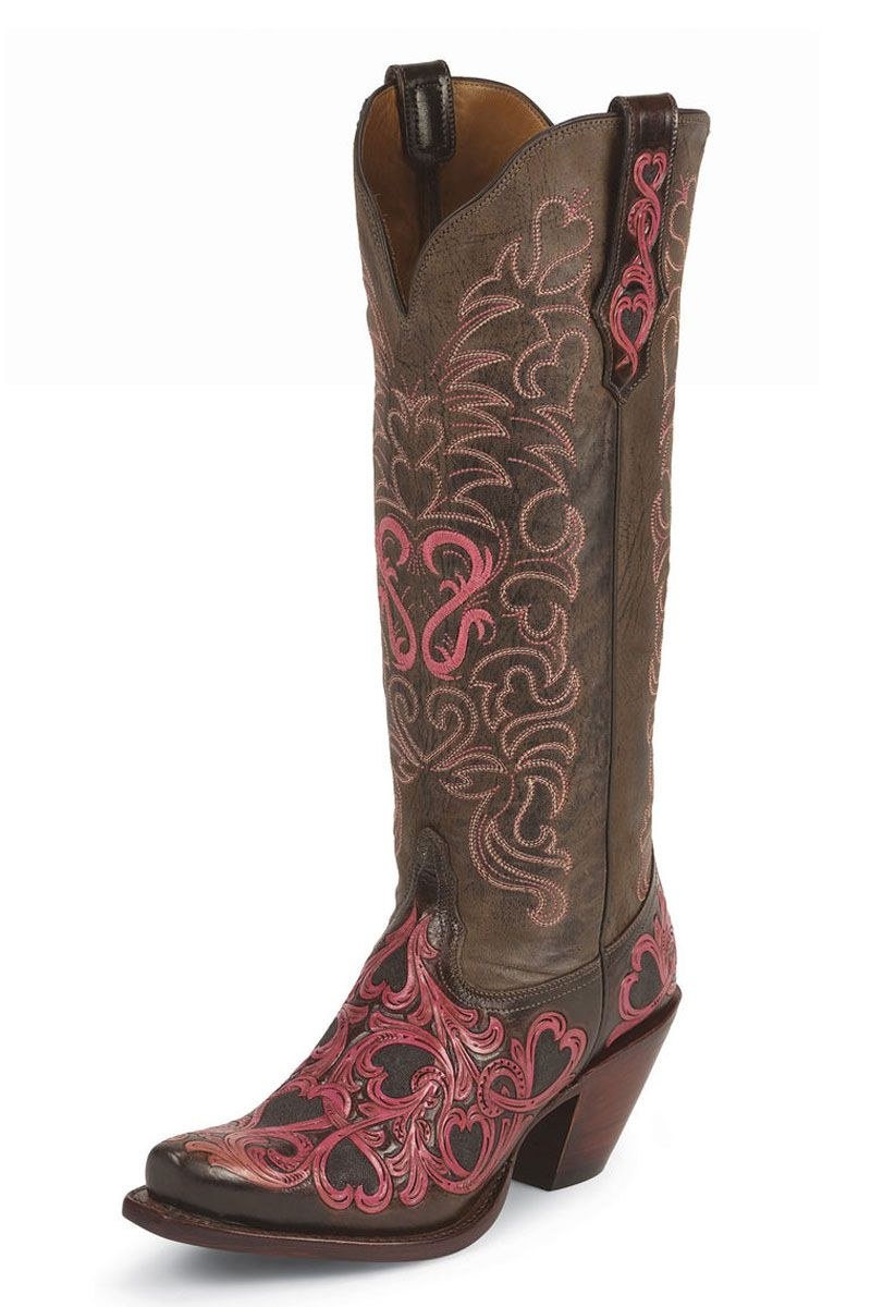 Tony Lama Women's Chocolate Pink Heart Cowgirl Boots | Boots, I ...