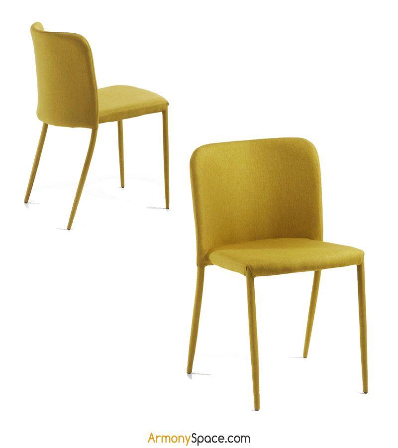 f8c73f3e Silla de comedor amarilla Katanya con amplio respaldo totalmente tapizada  en tela · Yellow dining chair