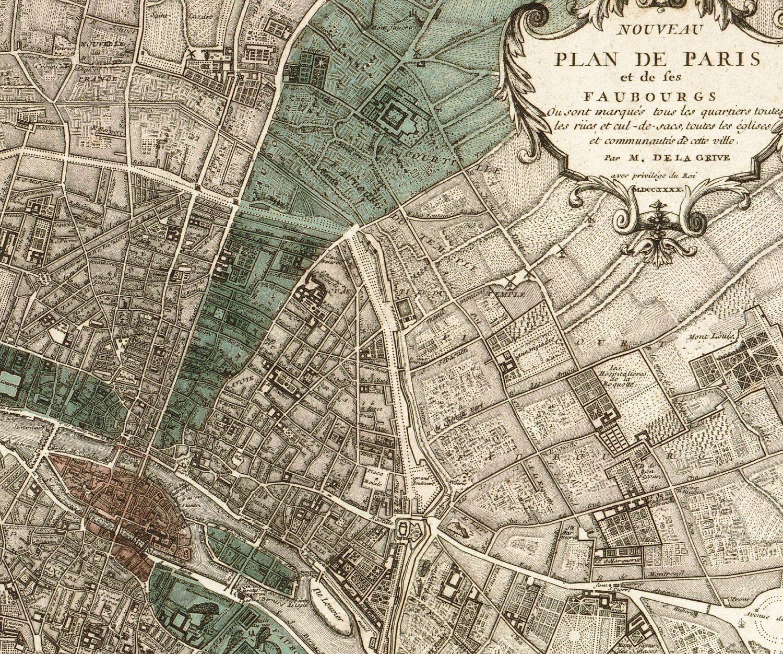 Antique Paris Map Plan de Paris