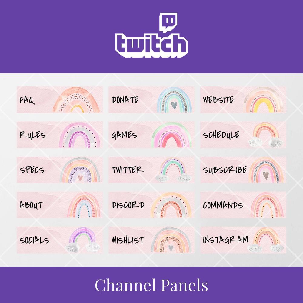 Twitch Channel Panels Watercolour Rainbows Instant