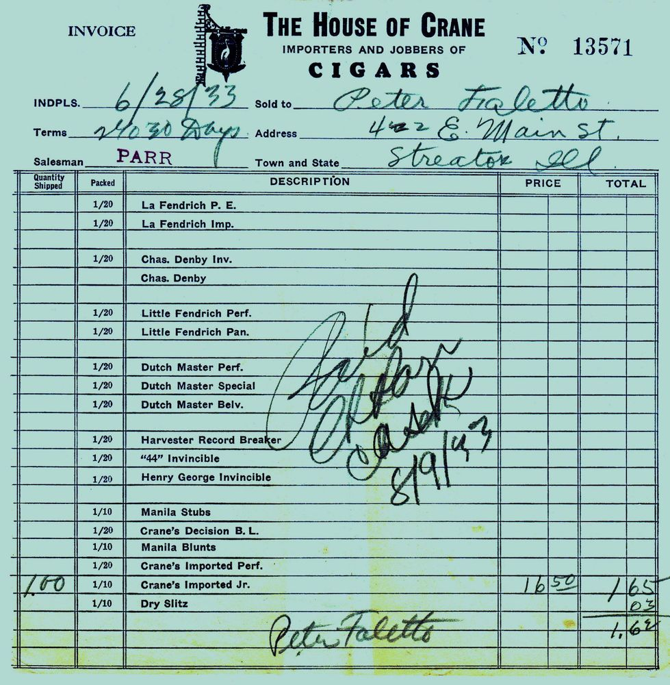 Invoice From House Of Crane Importers Jobbers Cigars - Jobber invoicing