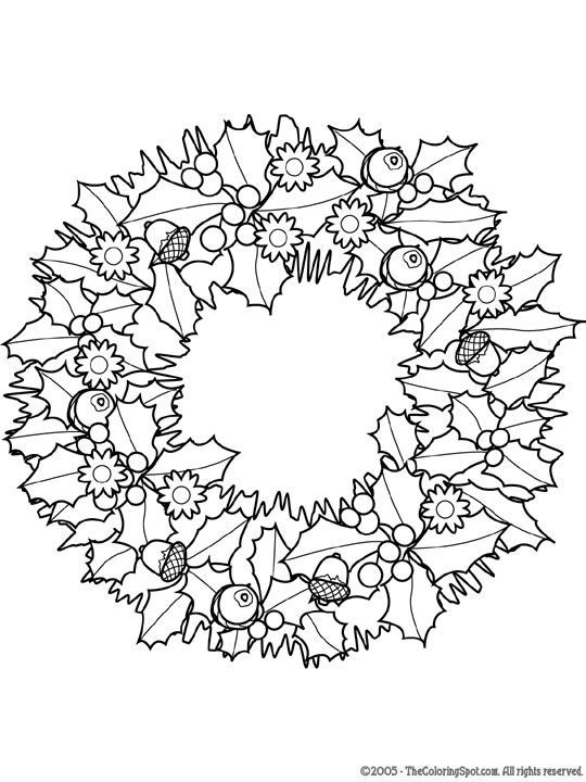 8 christmas coloring pages for adults - Wreath Coloring Page