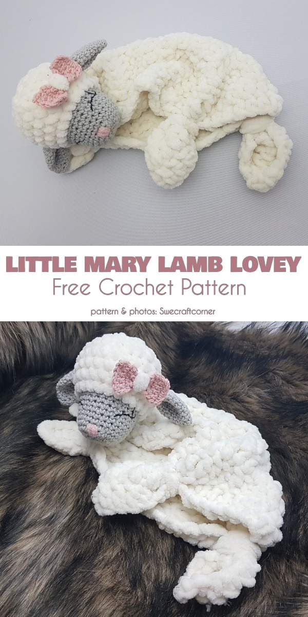 Little Mary Lamb Lovey Free Crochet Pattern #crochetpatterns