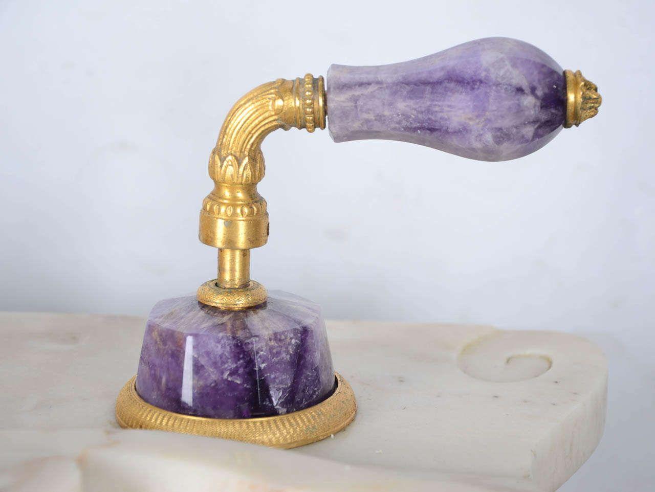 Elegant Marble Pedestal Sherle Wagner Sinks With Golden