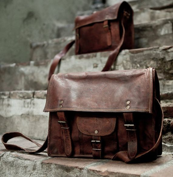379368cd14d8 Distressed Leather School Bag Shoulder Bag Messenger Bag Vintage Leather  Satchel