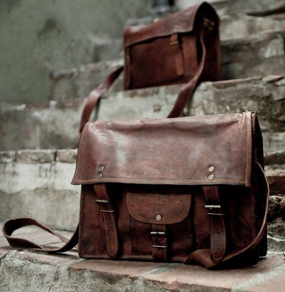 Distressed Leather School Bag Shoulder Bag Messenger Bag Vintage Leather  Satchel 8bb5e888341f8
