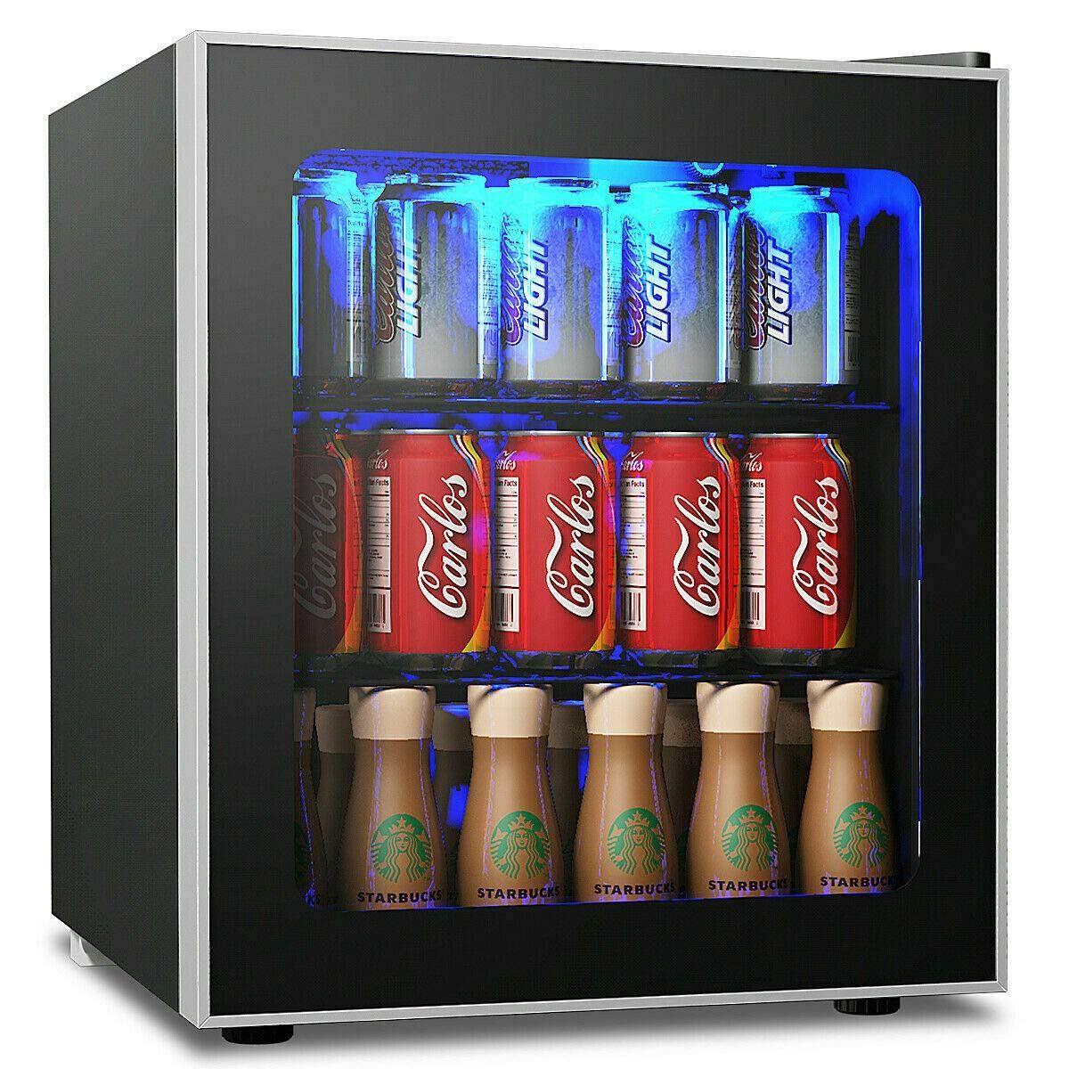 Costway Beverage Refrigerator And Cooler 60 Can Mini Fridge Adjustable Removable Shelves Beverage Refrigerator Mini Fridge Beverage Cooler