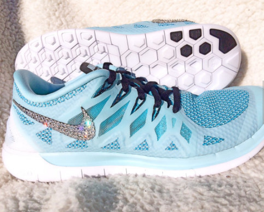 1e7cb7cf855544 ... coupon cheap feet running shoes shoes swarovski crystal nike free 5.0  bling ice cube blue clearwater