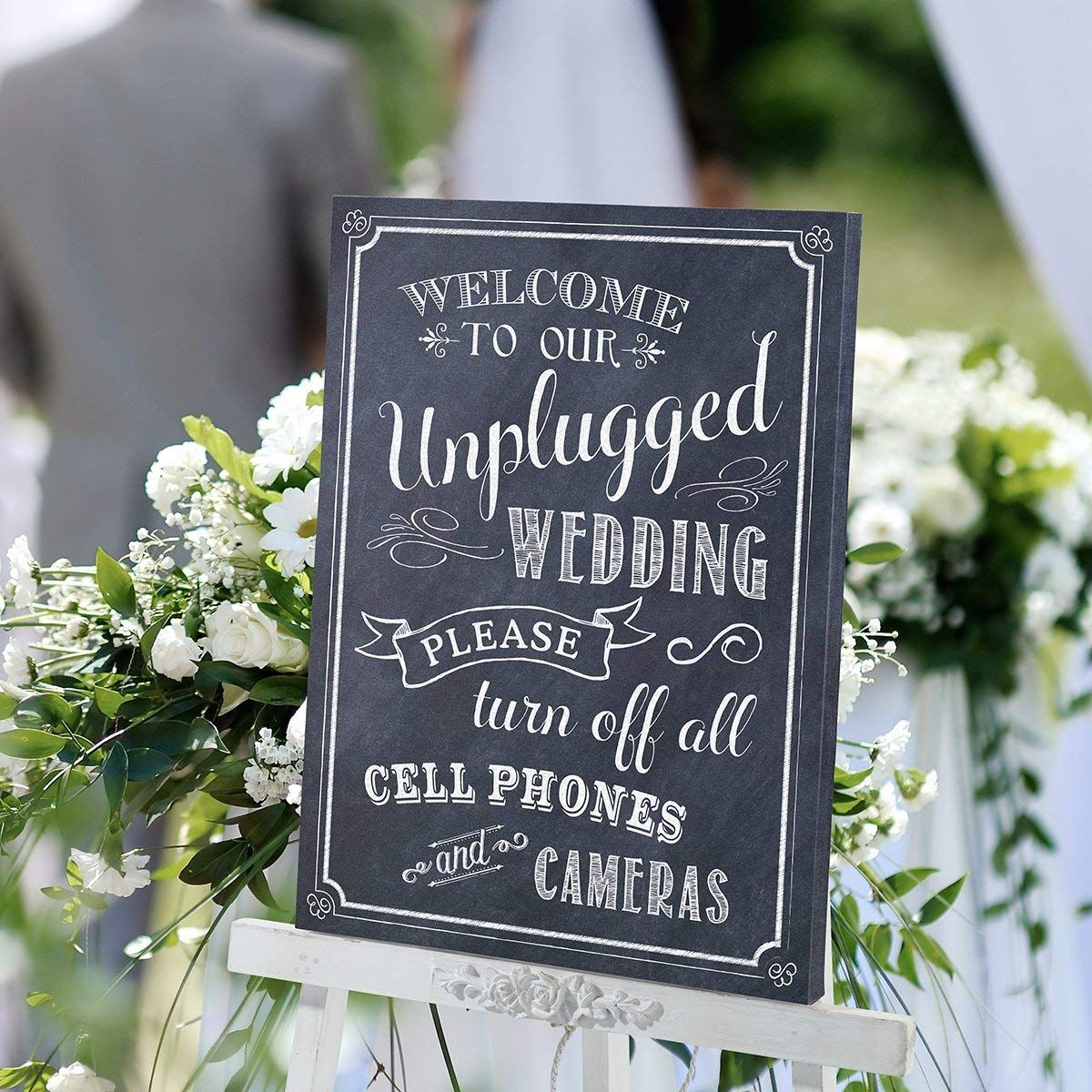 Lillian Rose Unplugged Canvas Wedding Sign Reminding