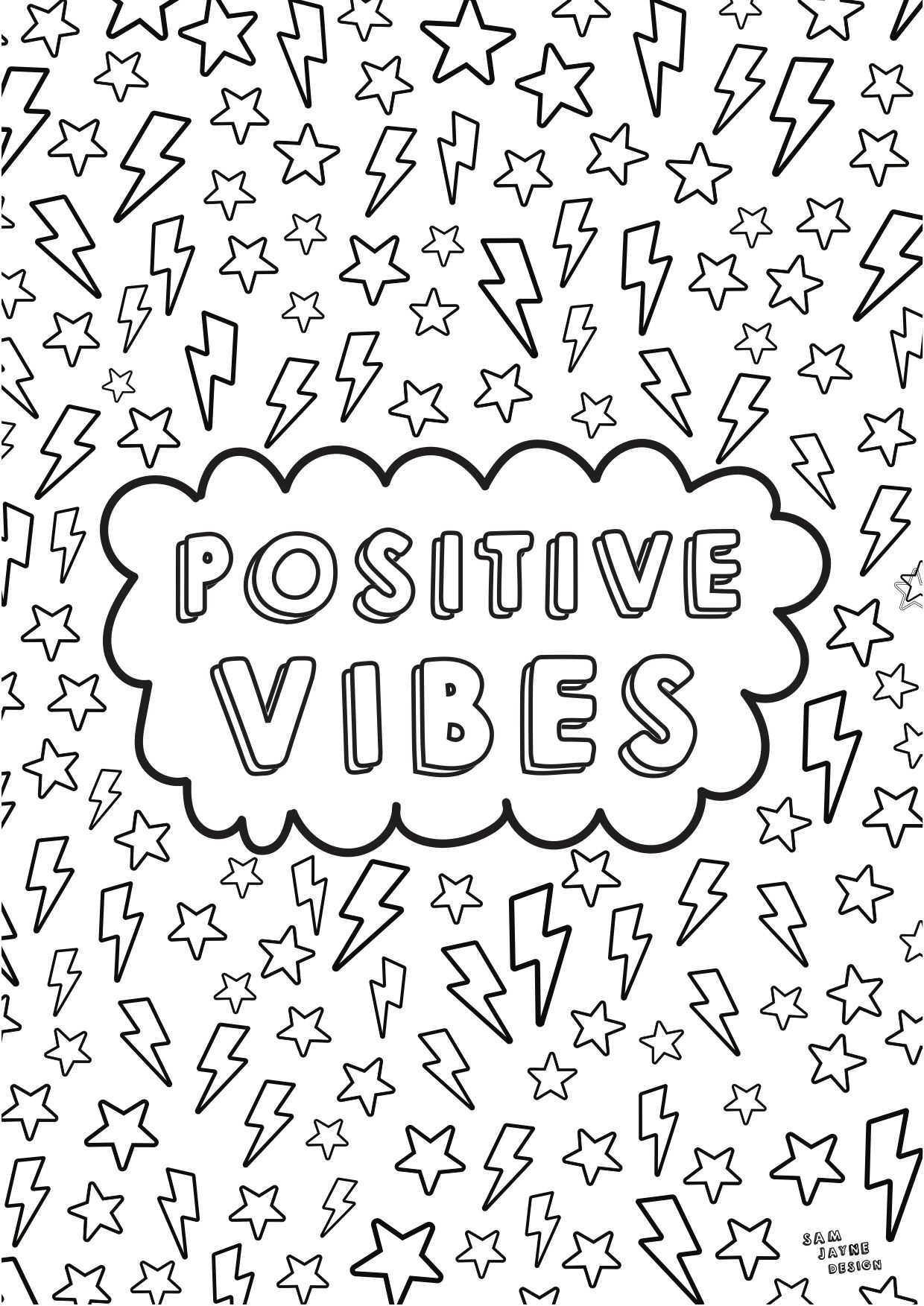 Positive Vibes Colouring Page Quote Coloring Pages Tumblr Coloring Pages Kids Printable Coloring Pages [ 1753 x 1240 Pixel ]