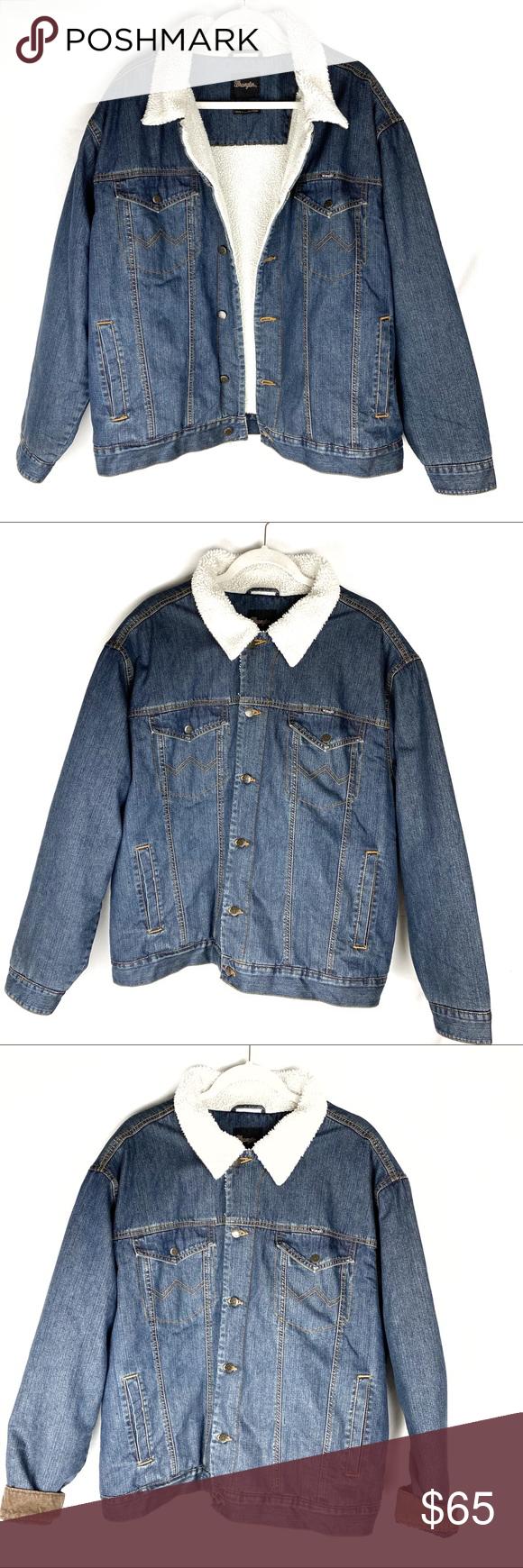 Vintage Wrangler Sherpa Lined Mens Jean Jacket Xl Jean Jacket Men Vintage Wrangler Mens Jeans [ 1740 x 580 Pixel ]