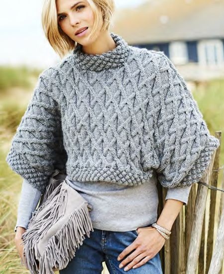 Free Knitting Pattern For Leonora Aran Tee Cable Pullover Sweater