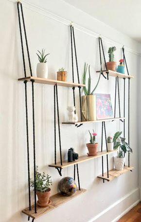 corde noire suspendu tag res etagere suspendue en 2019. Black Bedroom Furniture Sets. Home Design Ideas