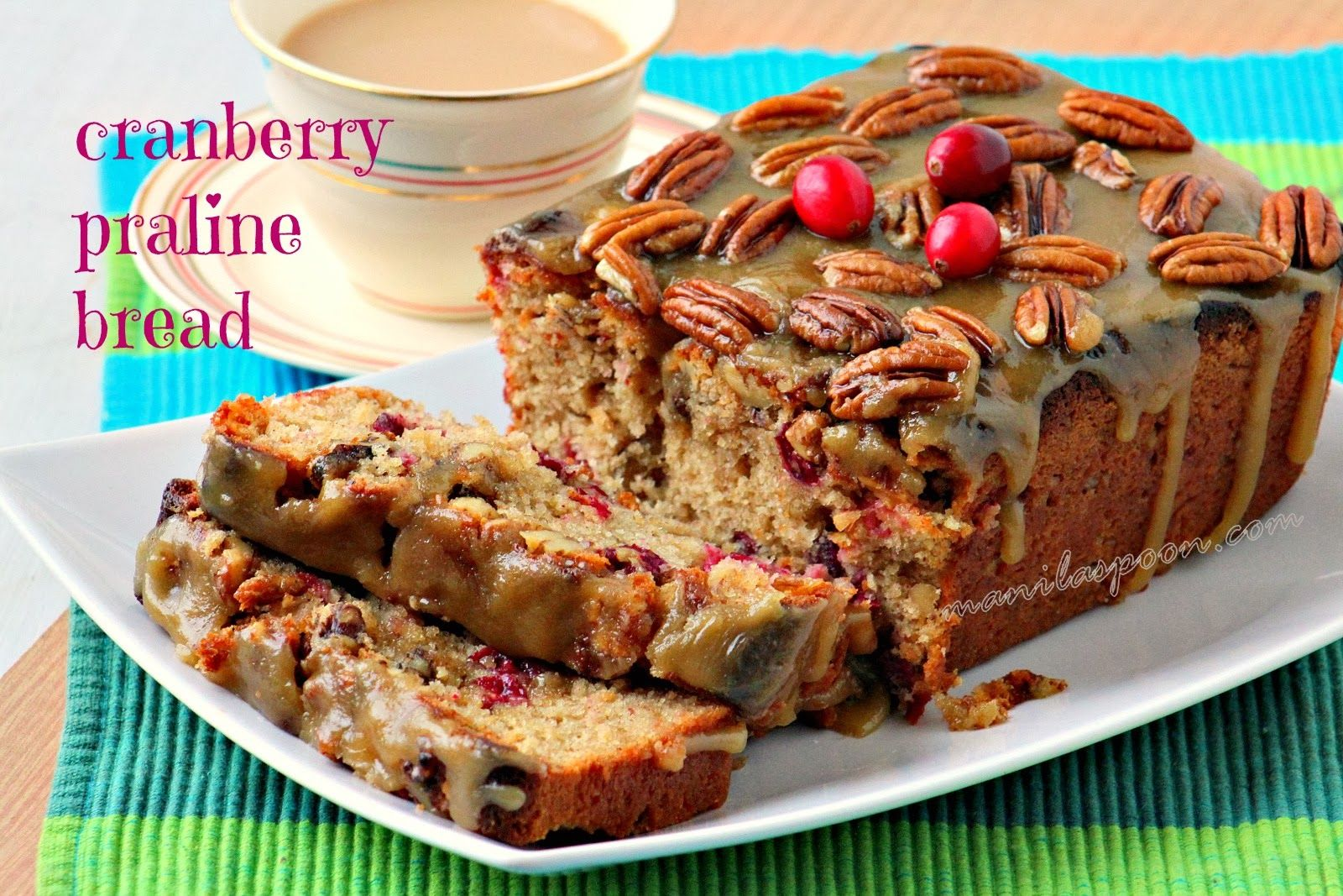 Moist, sweet-tangy, buttery, nutty - hints of deliciousness in every bite PROMISE! #cranberry #praline #bread