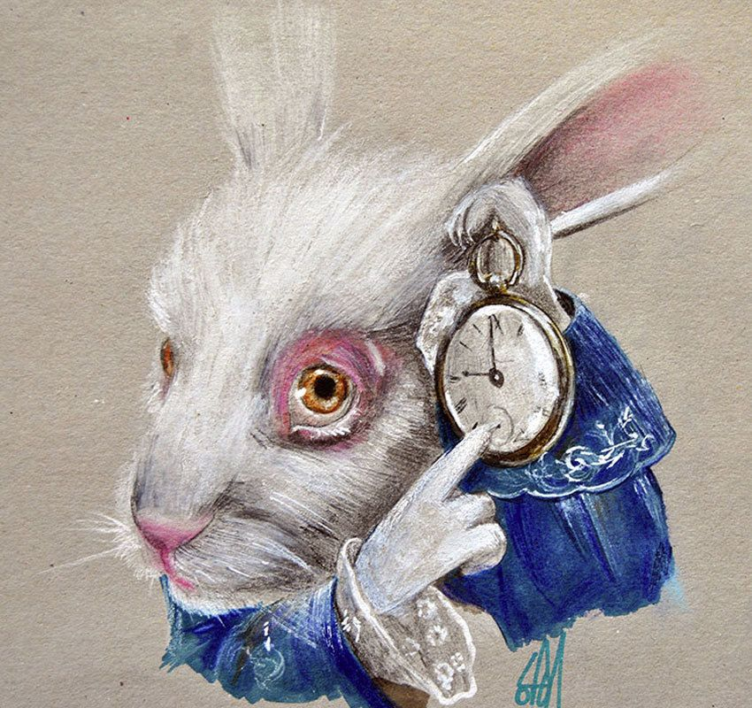 White Rabbit Time by Manuela Lai Fine Art Print Alice in Wonderland Character