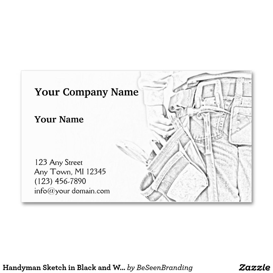 Handyman sketch in black and white business business card
