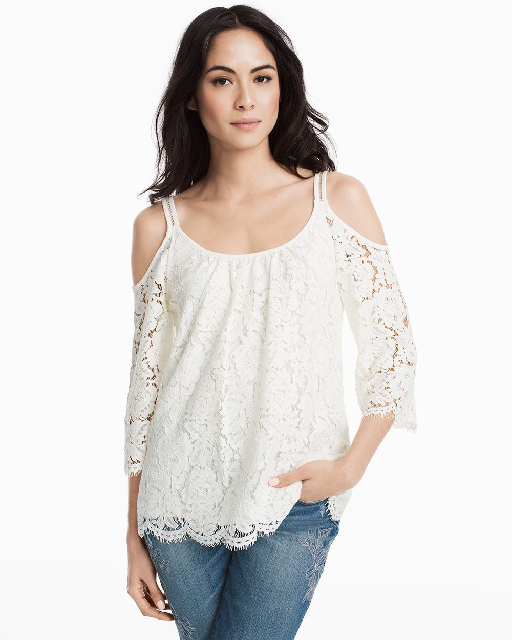 3beb38ac2eced Women s Cold-Shoulder Lace Top by White House Black Market