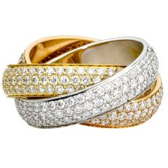 CARTIER Large Model Trinity Diamond Tri-Color Gold Band Ring