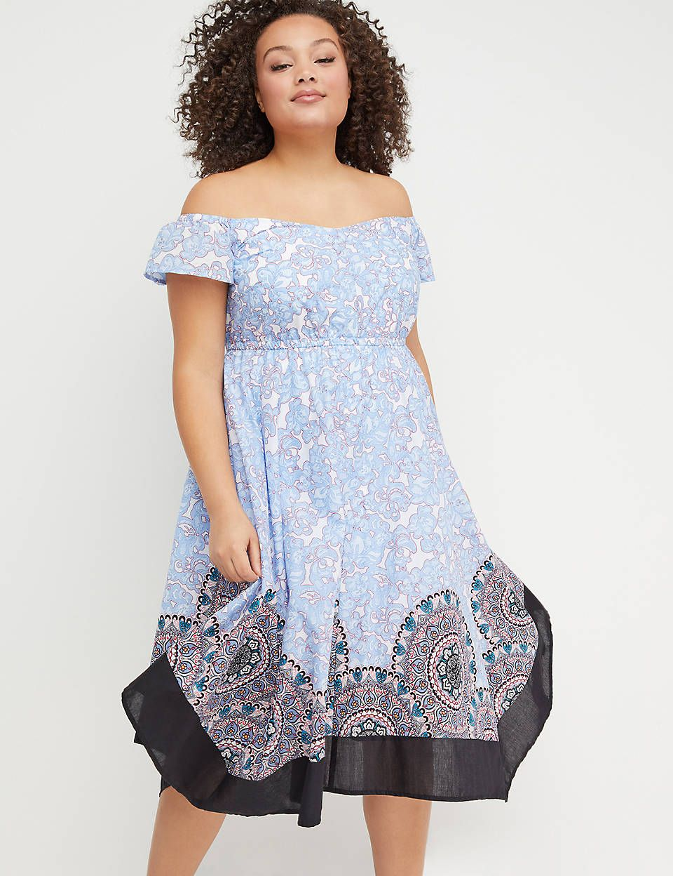 Printed Sharkbite Hem Midi Dress | Lane Bryant | Plus size ...