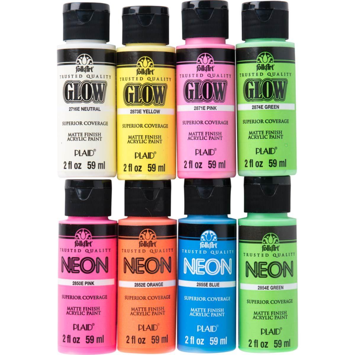 Shop Plaid Folkart Neons Glow In The Dark 8 Color Set Promofaglow8 Promofaglow8 In 2021 Acrylic Paint Set Paint Set Neon Glow