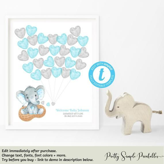 Guest Book Alternative Blue Elephant Baby Shower Keepsake Art