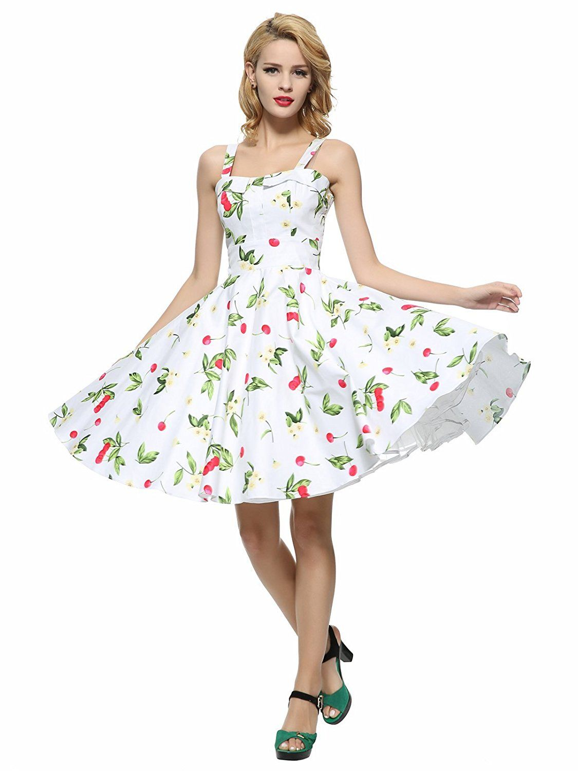 10e4166ce4f6 Maggie Tang Women's 1950s Vintage Rockabilly Full Circle Swing Party Dress  at Amazon Women's Clothing store: