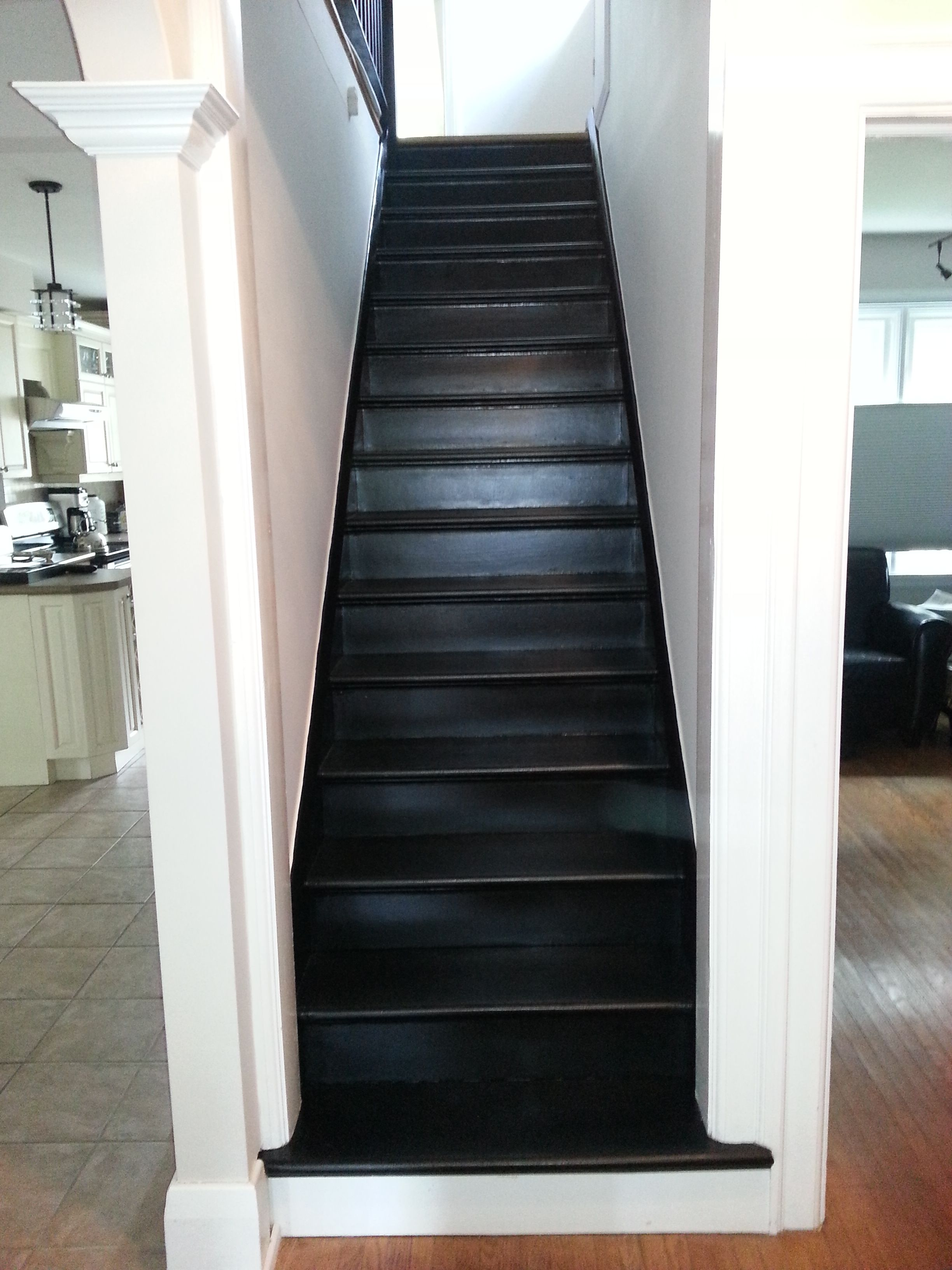 6258 Tricorn Black Semi Gloss Painted Stair Risers Painted