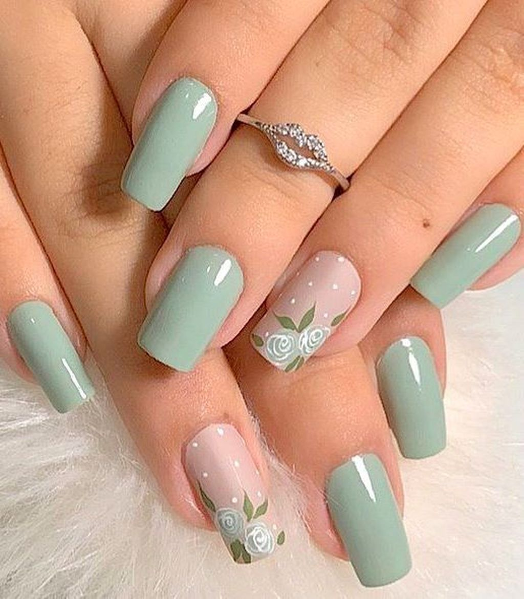 40 Cool Green Nail Art Designs Ideas That Will Inspire You With Images Green Nail Art Green Nails Flower Nails