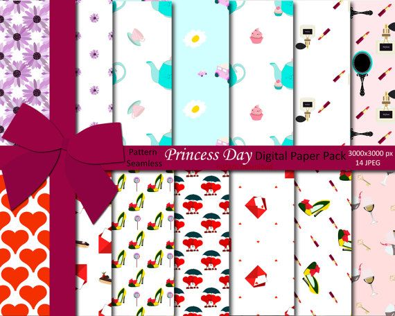 Princess Day Digital Paper Pack, Girl's Paper, Digital Paper Pack, Invitation Backgrounds, Instant Download, 14 JPEG, Pattern Seamless