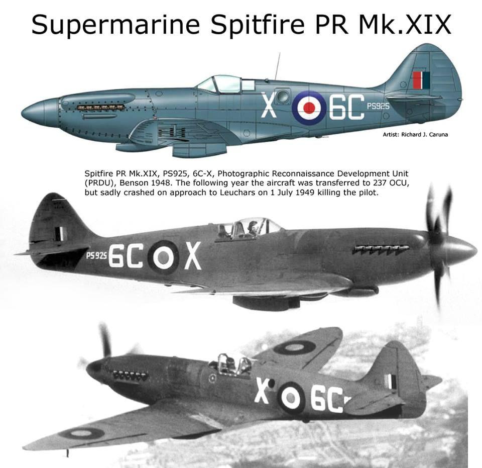 Spitfire Pr Mk Xix Supermarine Spitfire Reconnaissance Aircraft Wwii Airplane