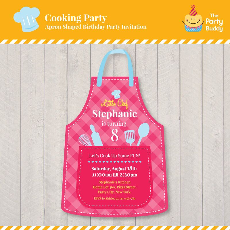 Cooking Party Birthday Invitation Design | Girls Little Chef Party ...