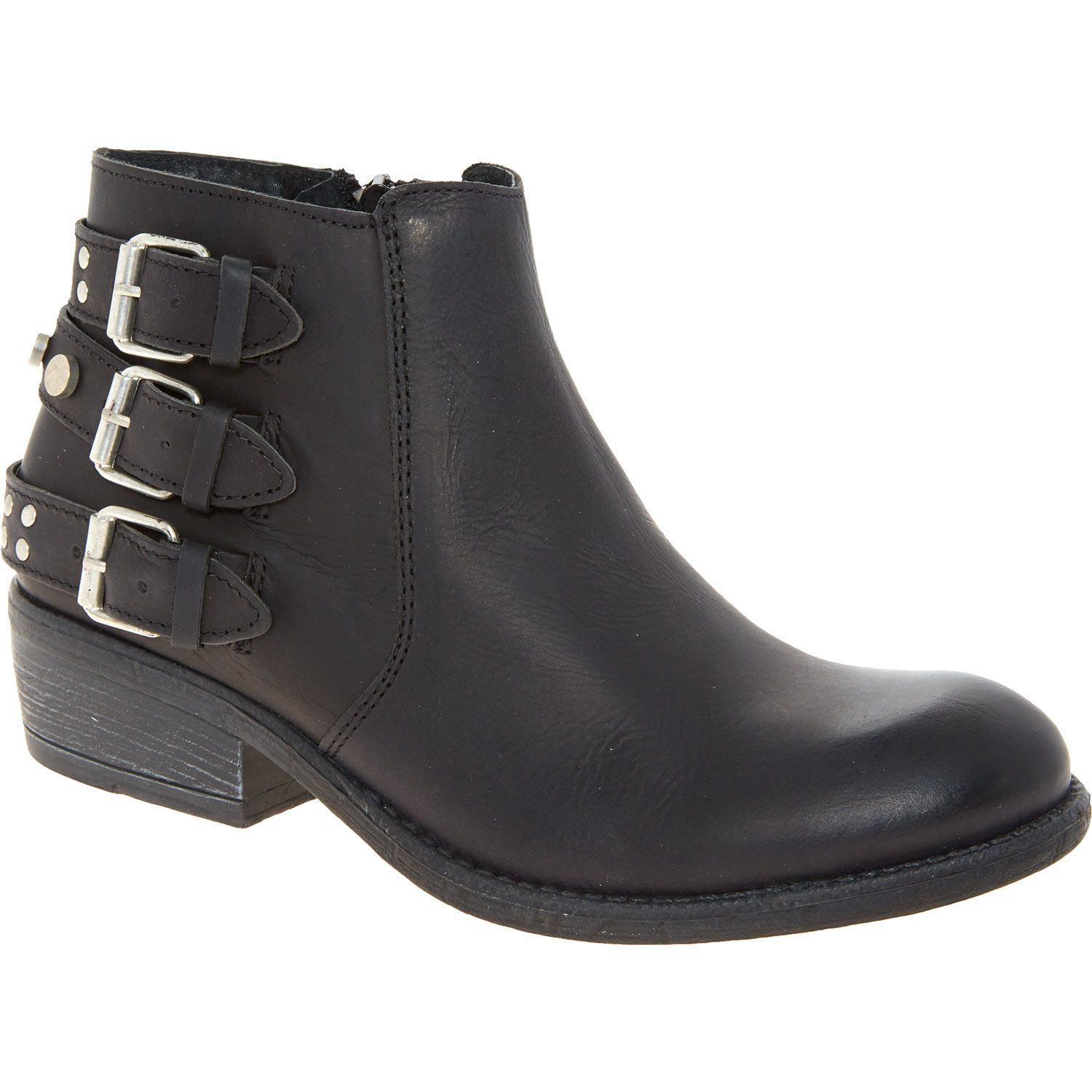 """""""Amore """" Black Leather Buckled Ankle Boots TK Maxx"""