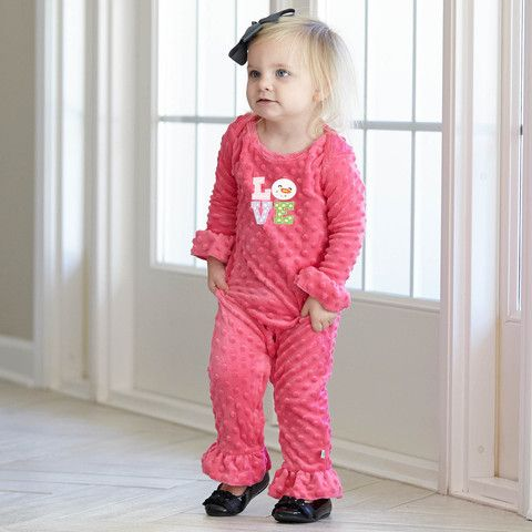 2c4df2689b63 Baby Girls Personalized Hot Pink Minky Romper – Lolly Wolly Doodle ...