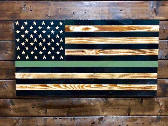 Thin Green Line Wood Flag - Wooden Flag - Wood American Flag #americanflagart