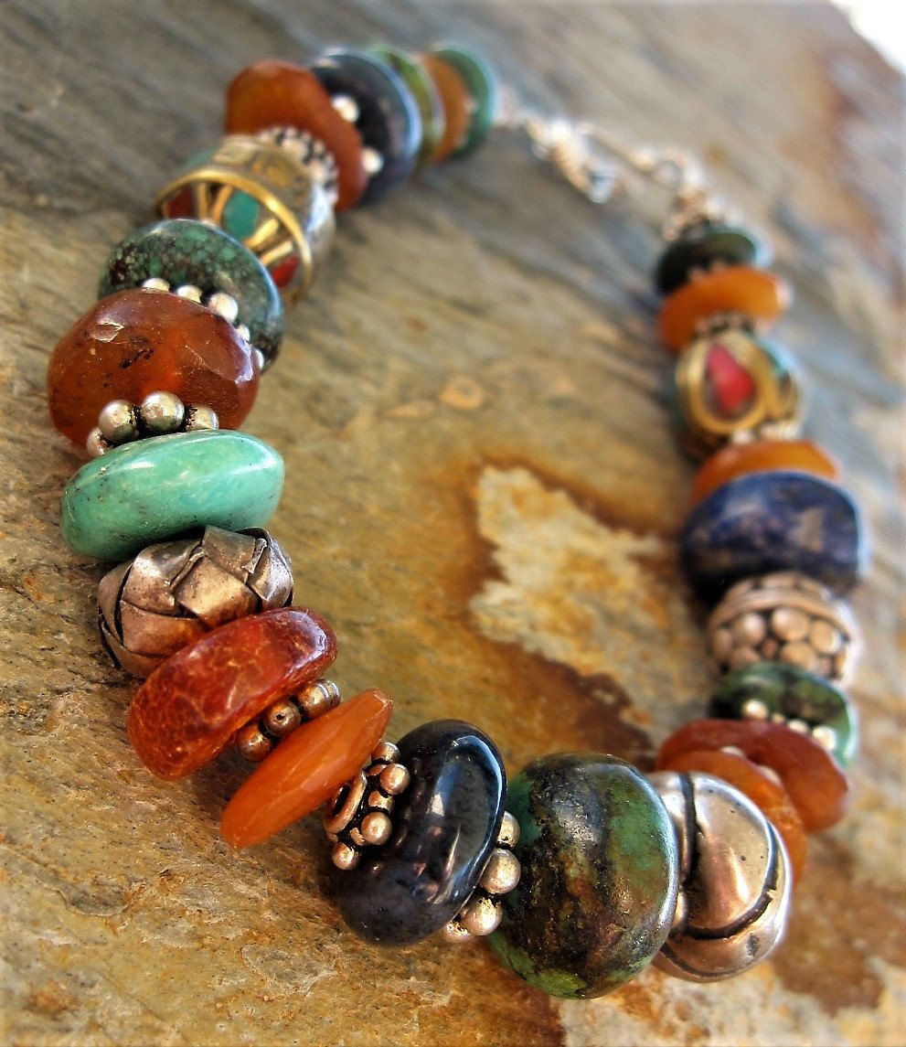 Artisan Bracelet With Stone , Silver and Nepal Beads by GinnyWolfStudio on Etsy