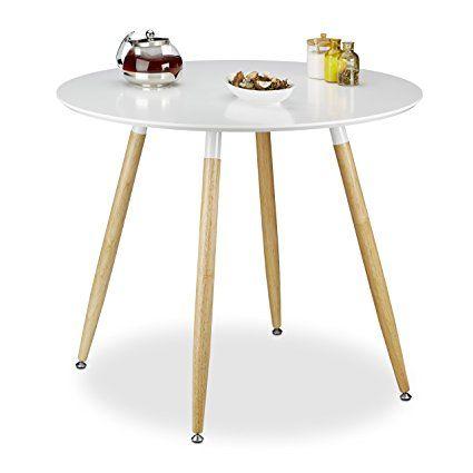 Relaxdays Runder Esstisch ARVID, Holz, HxD 74 x 90 cm, Beine - runder küchentisch weiß