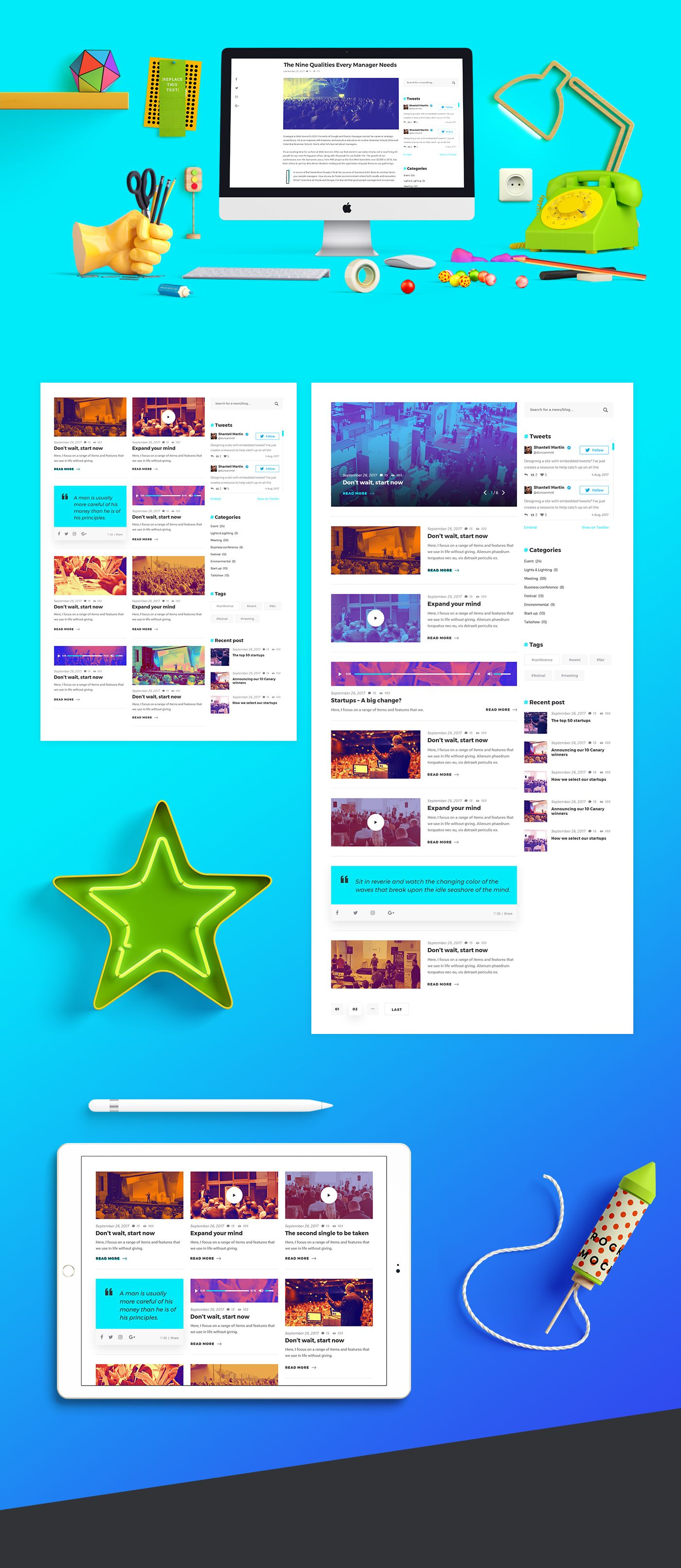 the event exhibition is modern creative colorful onepage psd